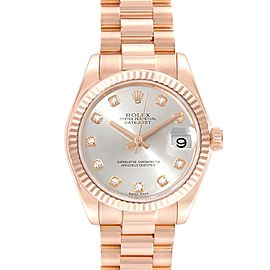 Rolex President Datejust Midsize 31 Rose Gold Diamond Ladies Watch 178275