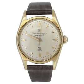 Girard Perregaux 14K Yellow Gold & Leather Automatic 33mm Mens Watch