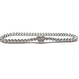 Tiffany & Co. Platinum 1.97ct Diamond Line Heart Bracelet