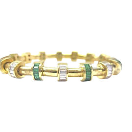 Charles Krypell 18K Yellow Gold Diamond Emerald Bracelet