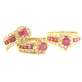 18K Yellow Gold 3.20ct Ruby Diamond Earrings and Ring Set Size 6.25