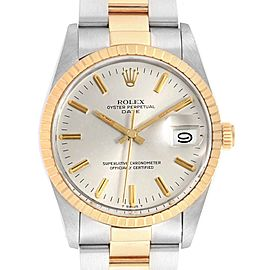 Rolex Date Mens Steel 18k Yellow Gold White Dial Mens Watch 15053