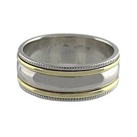 Scott Kay Platinum 18K Yellow Gold Milgrain Plain Band Ring 10.5