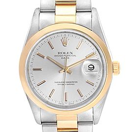 Rolex Date Steel Yellow Gold Silver Dial Mens Watch 15203 Box