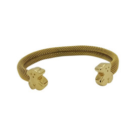 Tous 18K Yellow Gold and Stainless Steel Mesh with Bear Cuff Bracelet