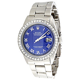 Rolex Datejust 1601 Stainless Steel Blue Roman Dial with 1.90ct Diamonds 36mm Mens Watch