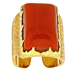 M. Buccellati 18K Rose & Yellow Gold Coral Cuff Ring Size 6