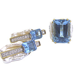 18K Yellow Gold with Blue Topaz and Diamond Ring & Earrings Set