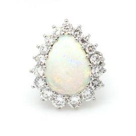 14K White Gold Opal 1.70ctw Diamond Ring Size 8