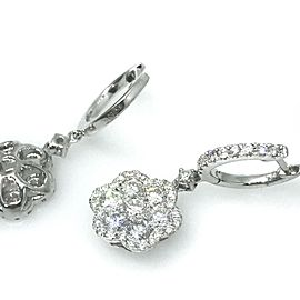 18K White Gold 2.21ctw Diamond Drop Dangle Earrings