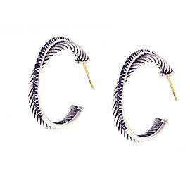 David Yurman Sterling Silver Black Diamond Crossover Hoop Earrings