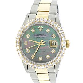 Rolex Datejust 2-Tone 18k Yellow Gold And Stainless Steel Oyster w/Tahitian Mother Of Pearl Dial & 2.70ct Bezel 36mm Unisex Watch