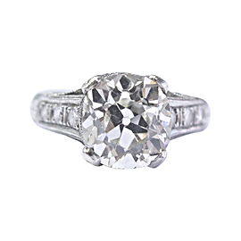 Vintage Platinum with Diamond Engagement Milgrain Ring Size 5.5