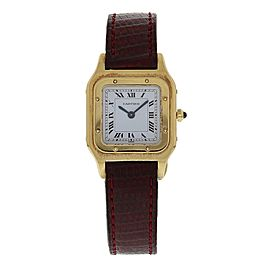 Cartier Santos Dumont 1576 18K Yellow Gold & Leather Manual 23mm Womens Watch