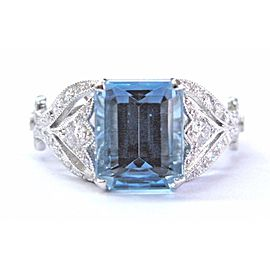 "Tiffany & Co. ""Legacy Collection"" Platinum with 3.44ct Aquamarine & 0.48ct Diamond Ring Size 6"
