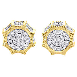10K Yellow Gold with 0.50ct Diamond Studs Pave Earrings