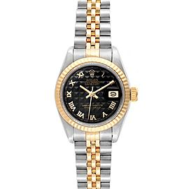 Rolex Datejust 26 Steel Yellow Gold Black Pyramid Dial Ladies Watch 69173