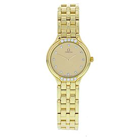 Omega DeVille 8950901 18K Yellow Gold with Diamonds Quartz 24mm Womens Watch