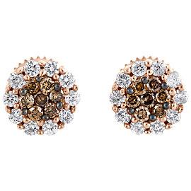 14K Rose Gold 0.50tcw Round Brown & White Diamond Flower Set Studs Earrings