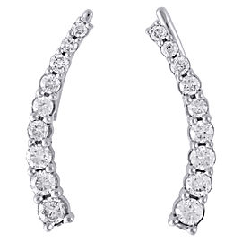 10K White Gold 0.50ct Diamond Prong Set Ear Climbers Earrings