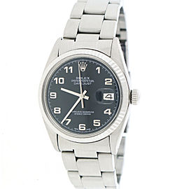 Rolex Datejust 16014 Stainless Steel White Gold Fluted Bezel Black Dial 36mm Mens Watch