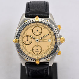 Breitling Chronomat 81950 Gold Plated Stainless Steel & Leather Automatic 39mm Mens Watch
