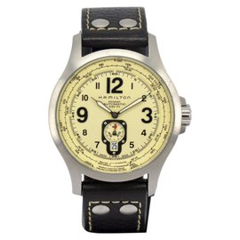 Hamilton Khaki Aviation H765150 Stainless Steel & Leather Ivory Dial Automatic 44mm Men's Watch