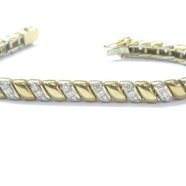 "Sidney Garber 18Kt Diamond 2-Tone Tennis Bracelet 7"" 2.00Ct"