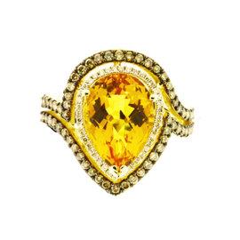 Le Vian 14K Yellow Gold 1.75ct Diamond & Citrine Ring Size 7