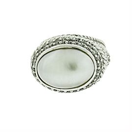 Judith Ripka 925 Sterling Silver with Pearl & Cubic Zirconia Ring Size 6