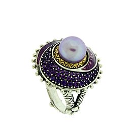 Barbara Bixby 18K Yellow Gold and 925 Sterling Silver with Pearl Ring Size 6