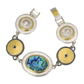 Gurhan 925 Sterling Silver & Yellow Gold Galapagos Layered Shell & Black Spinel Bracelet
