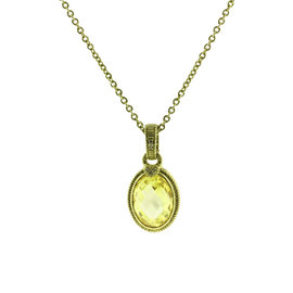 Judith Ripka 14K Yellow Gold with 0.04ct Diamond & Canary Quartz Necklace