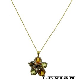 Levian 14K Yellow Gold with 0.30ct Diamond, Smokey Topaz & Citrine Necklace