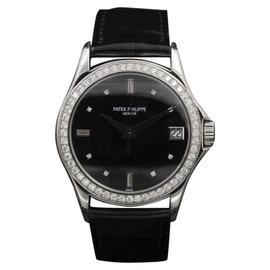 Patek Philippe Calatrava 5297 18k White Gold Black Diamond Dial & Bezel 38mm Mens Watch
