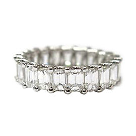 14K White Gold with Fine Emerald Cut 5.25ct Diamond Eternity Band Ring Size 6
