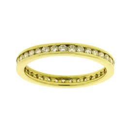 14K Yellow Gold with 0.75ct. Channel Set Diamond Eternity Band Ring Size 7