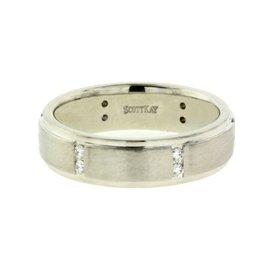 Scott Kay 19K White Gold with 0.18ct Diamond Wedding Band Ring Size 9