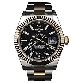 Rolex Sky-Dweller 326933 Two Tone Yellow Gold & Stainless Steel Black Dial 42mm Mens Watch