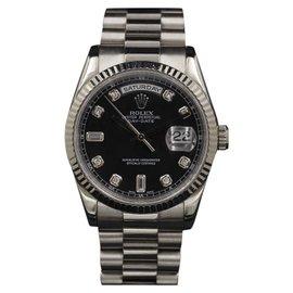 Rolex Day-Date 118239 White Gold Black Diamond Dial 36mm Unisex Watch