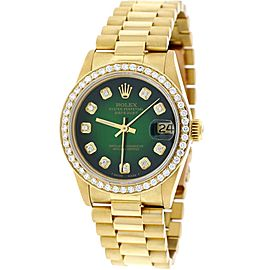 Rolex Datejust 68278 18K Yellow Gold with Green Diamond Dial 31mm Womens Watch