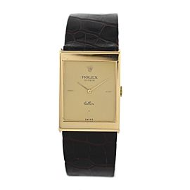 Rolex Cellini 4127 18K Yellow Gold & Leather Manual 24mm Unisex Watch