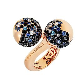 Pasquale Bruni Rose Gold Diamond, Sapphire Ring Size 6.75