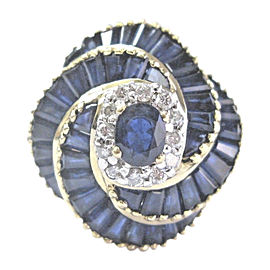 Le Vian 18K Yellow Gold with Sapphire and Diamond Ring Size 7.5