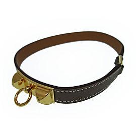 Hermes Gold Tone Hardware & Swift Leather Etoope Micro Reval Bracelet