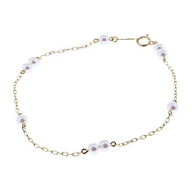 Mikimoto 18K Yellow Gold with Baby Pearl Bracelet