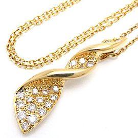 Mikimoto 18K Yellow Gold with 0.28ctw Diamond Pendant Necklace