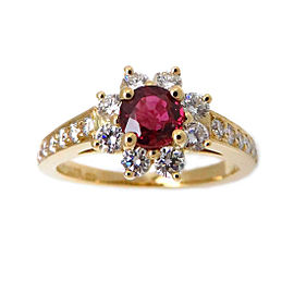 Tiffany & Co. 750 Yellow Gold with Ruby and Diamond Ring