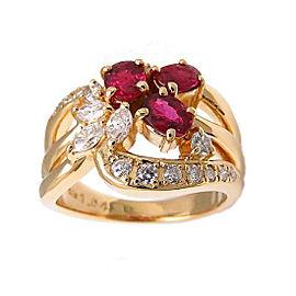 Tasaki 18K Yellow Gold with 1.04ct Ruby & 0.46ct Diamond Ring Size 6