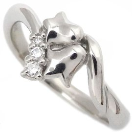 Christian Dior Platinum with Diamond Flower Ring Size 5